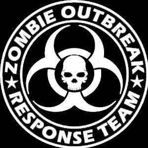Zombie Outbreak Response Team Skull Design   5 WHITE Vinyl Decal