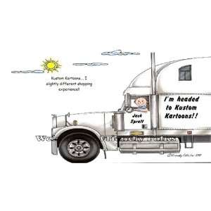 18 Wheeler Big Rig Truck Driver Personalized Cartoon