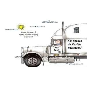 18 Wheeler Big Rig Truck Driver Personalized Cartoon