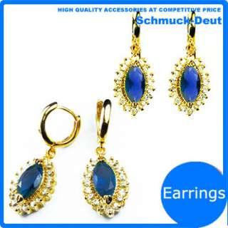 BLUE SAPPHIRE YELLOW GOLD GP EARINGS JEWELLERY EARRINGS