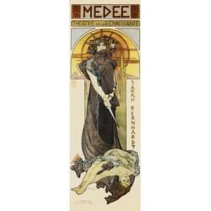com Medee Finest LAMINATED Print Alphonse Mucha 12x36 Home & Kitchen