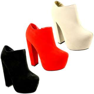 WOMENS BLOCK HEEL SUEDE ANKLE SHOE BOOTS LACE UP HIGH PLATFORM LADIES