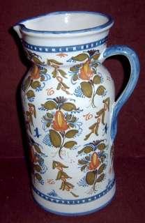 Guertes Sevilla Spanish Pottery Blue Floral Pitcher 12