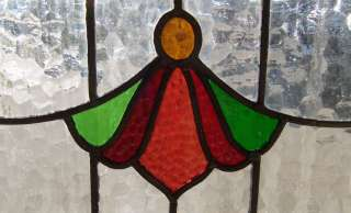 Pair Antique Stained Glass Windows Angelic Ruby Florets