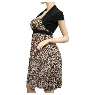 Plus Size Animal Print Faux Shrug Dress Brown