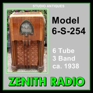 ZENITH Vintage Antique CONSOLE VACUUM TUBE RADIO 6 S 254 Shortwave AM