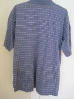 Peter Millar Mens Polo Plaid Blue Shirt XL Short Sleeve