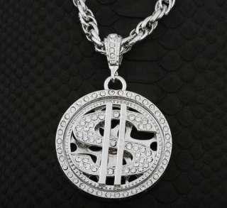 BLING SPINNER Dollar hip hop pendant Necklace HIPHOP