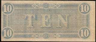 1864 $10 DOLLAR BILL RICHMOND CONFEDERATE CURRENCY NOTE T68 CIVIL WAR