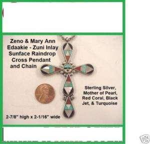 Large Zeno & Mary Ann EDAAKIE Zuni Inlay CROSS PENDANT Overpriced