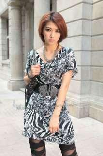 Fashion Womens Cowl neck Tunic Animal Zebra Print Mini Dress S M NEW