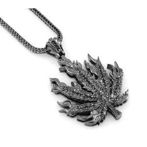 Hip Hop Bling Hematite Black Rock The Ganja Leaf Pendant