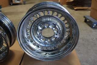 Wire Wheel Set Roadster Brand Rebuilt 15 X 6 56 Spokes Chrome Plated