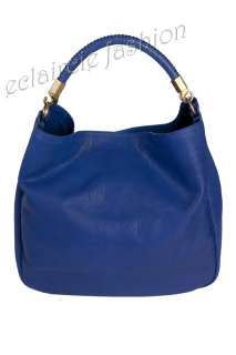 YVES SAINT LAURENT YSL Roady Stingray Handle Blue Leather Hobo Bag