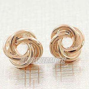 18K Rose Gold Plated Enlaced Cute Earring Studs 12300