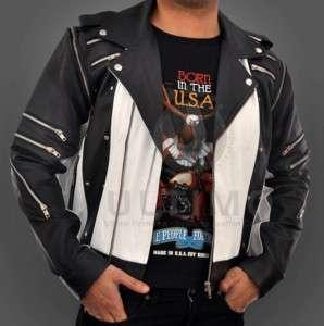 Michael Jackson Pepsi Commercial Ad Sheepskin Black/White Leather