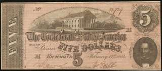 CONFEDERATE CURRENCY CIVIL WAR ERA NOTE CSA PAPER MONEY T69