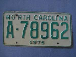 1976 North Carolina license plate nice original