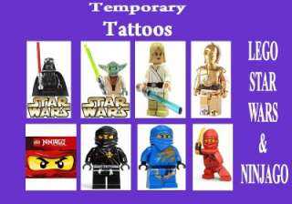 TEMPORARY TATTOO kids LEGO STAR WARS & NINJAGO party LAST 1 WEEK loot