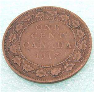 1917 CANADIAN 1 one cent penny Canada LARGE cent coin