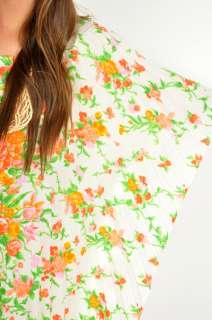 70s White NEON FLORAL PLEAT CAFTAN CAPE Boho Hippie Kimono Dress SML