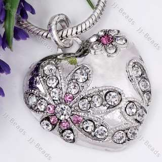 1P Silver Plated Heart Rhinestone Crystal Bead Pendant