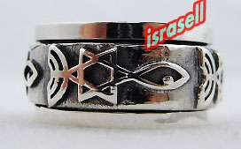 925 STERLING SILVER MESSIANIC RING Judaism Menorah Fish Jewish Star of