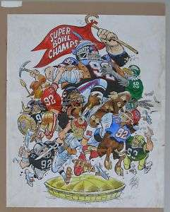 Jack Davis Original Art, SUPER BOWL XXV, 1991