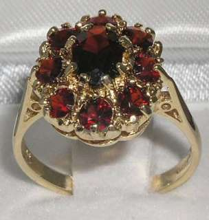 SOLID 9CT YELLOW GOLD DEEP RED GARNET CLUSTER RING