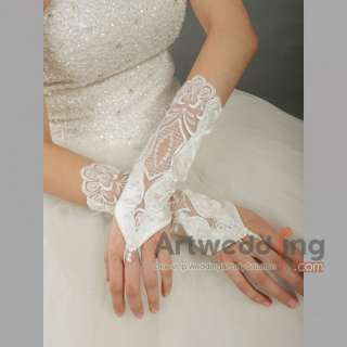 Satin Lace Elbow Wedding Gloves with Beading and Pearls (ST110087)
