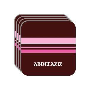 Personal Name Gift   ABDELAZIZ Set of 4 Mini Mousepad Coasters (pink