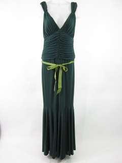 VERA WANG Green Sleeveless Ruched Full Length Dress 12