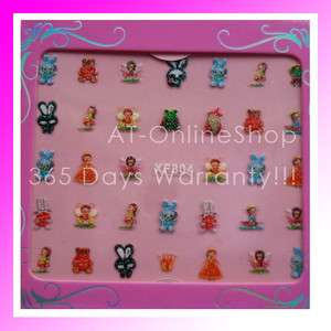 Sheet 3D Cartoon Cut Nail Art Sticker Tips Decals  7 Different