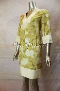 2280 New AGNONA Raw Silk Cream Yellow Green Pansy Floral Tunic Dress
