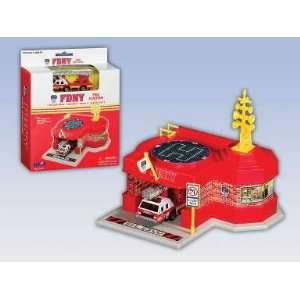 FDNY Mini Fire Station W/1 Vehicle Toys & Games
