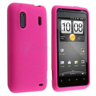 Pink Skin Silicone Rubber Case+LCD For Sprint HTC EVO Design 4G