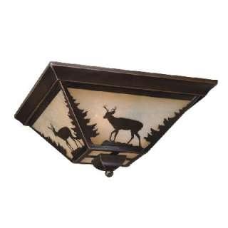 NEW 3 Light Rustic Deer Flush Mount Ceiling Lighting Fixture