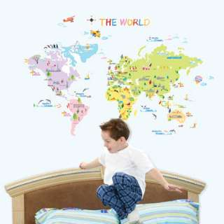 THE WORLD MAP WALL DECAL VINYL ART DECOR STICKERS #119
