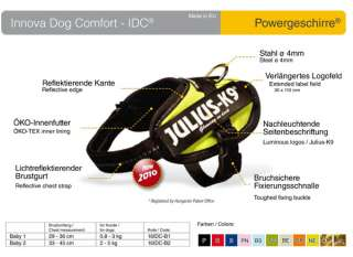 Julius K9 IDC power harness, all sizes, 11 colors, NEW