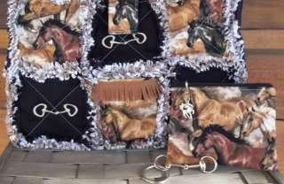 Country Western Running Horses Rag Quilt Purse Tote Hand Bag 3 Piece