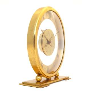 RARE BIG SIZE HOUR LAVIGNE GILT BRONZE DESK CLOCK 1950s  8 Day