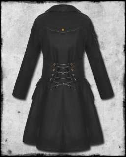 BLACK COPPER STEAMPUNK MILITARY VICTORIAN GOTH WOOL JACKET COAT