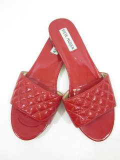 STEVE MADDEN Red Patent Leather Slides Sandals Sz 7