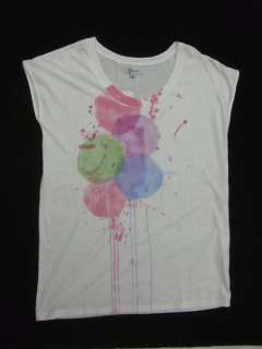 NWT Sourrce Cool White Abstract Prints Tee Shirt Sz M L