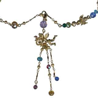 NEW KIRKS FOLLY CHERUB ANGEL SONG CHARMS & RAINBOW BEADS NECKLACE