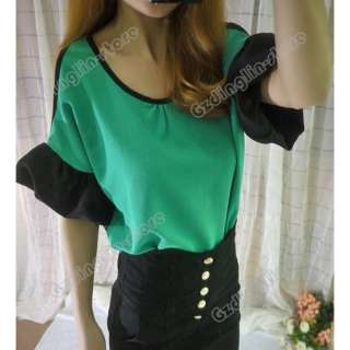 Shoulder Chiffon Clubwear Short Sleeve Tops Blouses Shirt #477