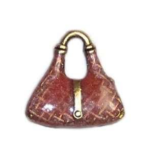 Pink Enamel Purse Charm Arts, Crafts & Sewing