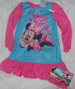NEW 4 4T Disney Minnie Mouse Nightgown Night Dress Pajamas Pink Girls