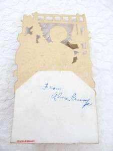 Valentine Day Card 3D Scraps Fold Out Stand Up White Doves Germany Vtg