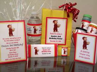 Curious George Birthday Invitations Favors Water Candy